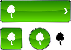 Tree  button set. Stock Photography