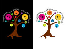 Tree with buttons and editable text. Vector tree with color buttons and editable text stock illustration