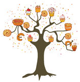 Tree with cakes - concept for the bakery Stock Photos