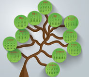 Tree Calendar-2015. 2015 calendar in us style, start on sunday, each month with individual table royalty free illustration
