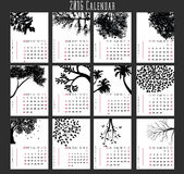 Tree Calendar-2016. 2016 calendar in us style, start on sunday, each month with individual table. Tree design Royalty Free Illustration