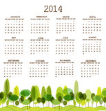 Tree calendar 2014. Vector illustration background Royalty Free Illustration