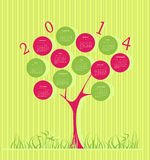 Tree calendar for 2014 year. With green and pink circles Royalty Free Stock Photos