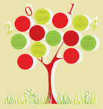 Tree calendar for 2014 year. With red and green circles Vector Illustration