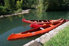 Tree canoes Stock Photo