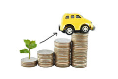Tree, car and graph on money for business concept with clipping. Paths. Saving money concept Stock Images