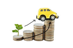 Tree, car and graph on money for business concept with clipping. Paths. Saving money concept Royalty Free Stock Image