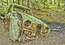 Tree car. Scrap car in the woods Stock Photos