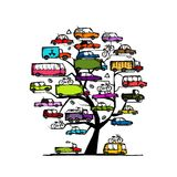Tree with cars, transportation concept for your Stock Photography