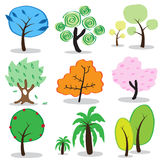 Tree cartoon icons. Stock Photo