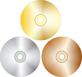 Tree cd-disks. Tree blank cd-disks. Vector illustration Stock Photography