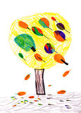 Tree. child's drawing. On paper royalty free illustration