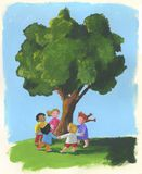 Tree and children. Happy children are skipping a ring-a-ring-o'-roses around the tree. hand-made illustration Royalty Free Stock Images