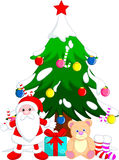 Tree Christmas cartoon. Christmas tree decorations and the prize santa claus Stock Photos
