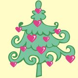 Tree, Christmas fir tree, green silhouette isolated on yellow background Stock Images
