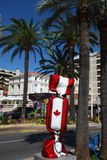 Canada a chocolate from France. Tree is christmas, flagpole, flagstaff. That marvel has picket fence, paling and restaurant, eating house, eating place, eatery Stock Images
