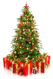 Tree christmas with gifts Royalty Free Stock Photos
