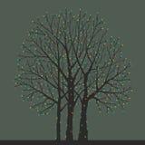 Tree with Christmas light bulbs Stock Photo