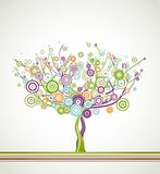 Tree with circle colorful leaves. Vector Stock Image