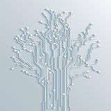 Tree circuit board abstract background - vector Stock Photography