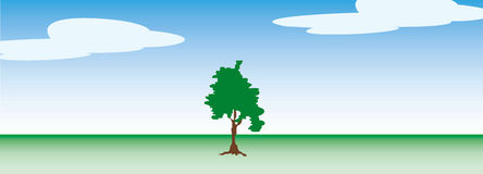 Tree on a clear day. This is a single tree on a clear day.  background illustration. Colors can be changed in additional format Stock Image