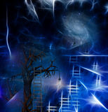 Tree climb. Tree with ladder and galaxy abstraction Stock Photography