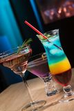 Tree cocktails in bar stock photography