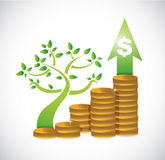 tree coin dollar graph illustration design Stock Image