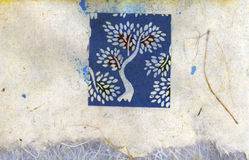 Tree Collage. Hand made block printed Asian art paper collaged with other Asian art papers Stock Photography