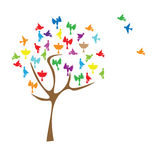 Tree with colored birds . Royalty Free Stock Photos