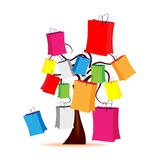 Tree with colored envelopes. Abstract illustration - tree with colored envelopes Stock Images
