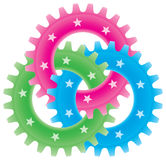 Tree colored gears Royalty Free Stock Images