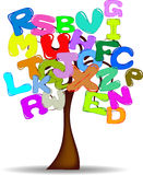 Tree with colored letters Stock Photography