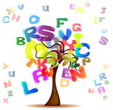 Tree with colored letters. Abstract background with colored letters stock illustration