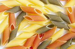 Tree-colored  pasta penne Royalty Free Stock Photography