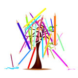 Tree with colored pencils Royalty Free Stock Photos
