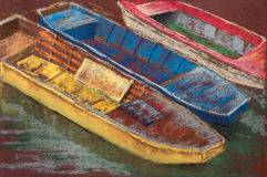 Tree colored wooden boats on river. Summer landscape. Pastel Painting.  stock images