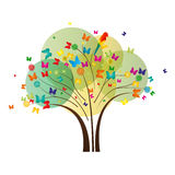 Butterfly Tree. Tree with colorful butterflies, blossoms and parrot Royalty Free Stock Photos