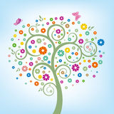 Tree and colorful flower. Illustration-colorful flower and butterfly Royalty Free Stock Photos