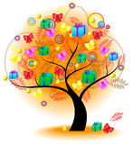 Tree of colorful gift (vector) Royalty Free Stock Image