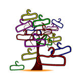 Tree with colorful hangers Royalty Free Stock Images