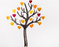 Tree with colorful hearts a watercolor Stock Photography
