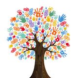 Human hand tree for culture diversity concept. Tree with colorful human hands together. Community team concept illustration for culture diversity, nature care or stock illustration