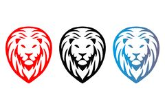 Tree colorful isolated lions heads. stock illustration