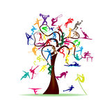 Tree with colorful sport icons Stock Images