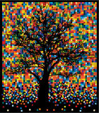 Tree on colorful squares. Illustration of black tree on colorful squares Royalty Free Stock Photography