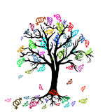 Tree with colorful symbols of lesbian couple Royalty Free Stock Images