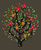 Tree with colour leaves. Tree with multi-coloured leaves and red fruits vector illustration