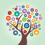 Tree and communication in social media Royalty Free Stock Image