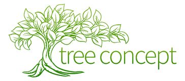 Tree Concept Icon. A tree concept icon illustration with roots Royalty Free Stock Images